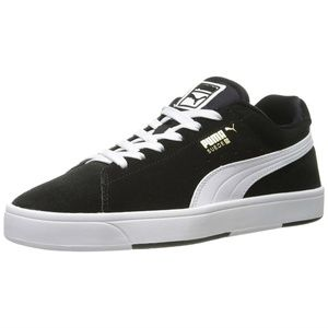 Suede S JR Big Kids Sneakers Shoes Black White NWB